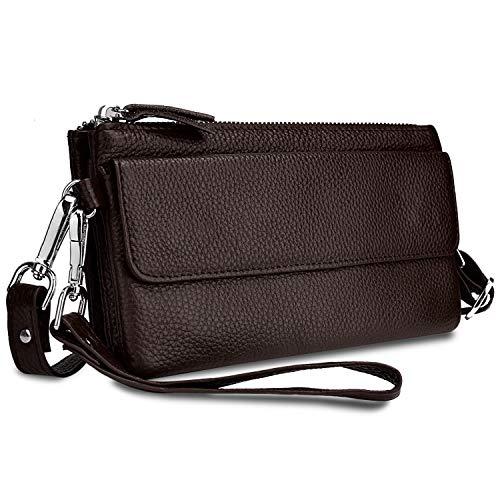 YALUXE Handtasche Damen Echtleder Smartphone Wristlet Crossbody Kupplungtasche mit RFID-Kartenschlitzen Kaffee