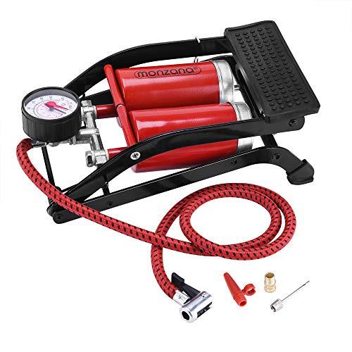 Monzana | Bomba de pie | 2 Cilindros de 100x55mm | Longitud de la Manguera de 80 cm | Set de 3 adaptadores | Pedal Antideslizante | Manómetro de hasta 7 Bar / 100 PSI |
