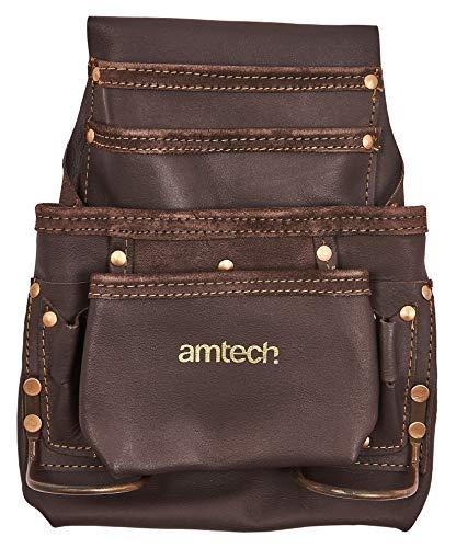 Am-Tech Werkzeugtasche aus Leder, für Gürtel, mit mehreren Fächern