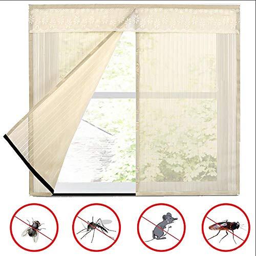Doors Insecto Mosquito Net Mosca Pantalla Red de Malla De Ventana con Cinta Pegajosa Pegajoso Cortina sin PunzóN Anti Mosquitos, Negro, Beige