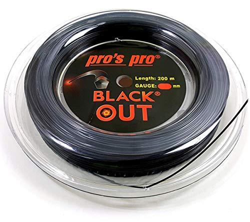 Pro's Pro Blackout - Corda da Tennis Blackout, 1,24 mm, 200 m, Colore: Nero