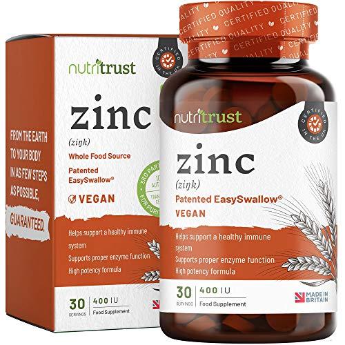 Zinco 400IU Compresse Nutritrust - Formula Alta Potenza Fonti Naturali Aiuta un Sistema Immunitario Sano e Aiuta la Corretta Funzione Enzimatica del Corpo Facile da Ingerire per Uomini e Donne