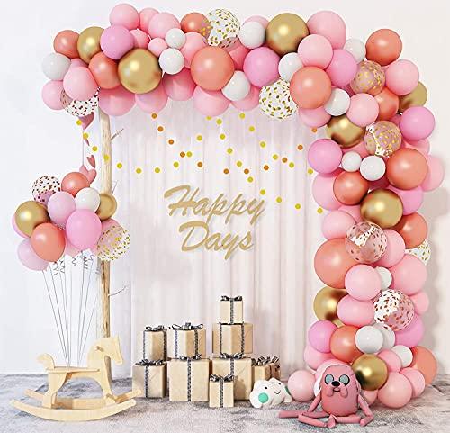 Kit de Guirnalda de Globos 144 Piezas Blanco Rosa Guirnalda de Arco de Látex Globos Confeti Fiesta de cumpleaños decoracion