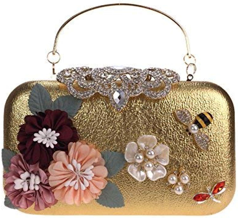 Ladies Handbag Diamond Yanbao Pearl Petals Bride Evening Bag Hand Bag Hand Bag (color   gold)