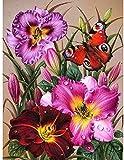 ZXDA Pintura al óleo de Bricolaje por números Flores Imagen artística en Lienzo Pintura por números Kits de Flores a Mano decoración del hogar Regalo A1 45x60cm