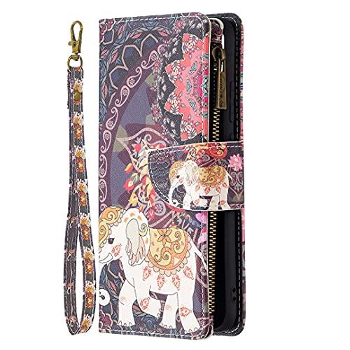 Miagon 9 Slot per Schede Custodia per iPhone 13 PRO Max,Colorato Cerniera Portafoglio a Libro in PU Pelle Flip Cover Kickstand Magnetica Case Antiurto,Elefante Fiore