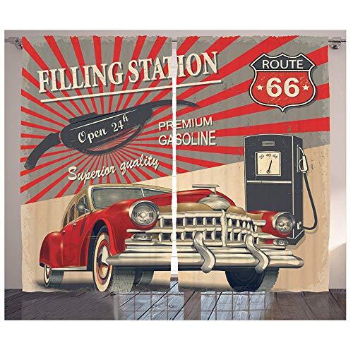 MUXIAND Ruta de los Coches Cartel Retro Cortinas Estación de Gasolina Kitsch Comercial Elemento Ruta Sala de Estar Dormitorio Decoración de la Ventana
