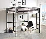 DCraft Berdine Metal Loft Bed, Full Size - Midnight Black