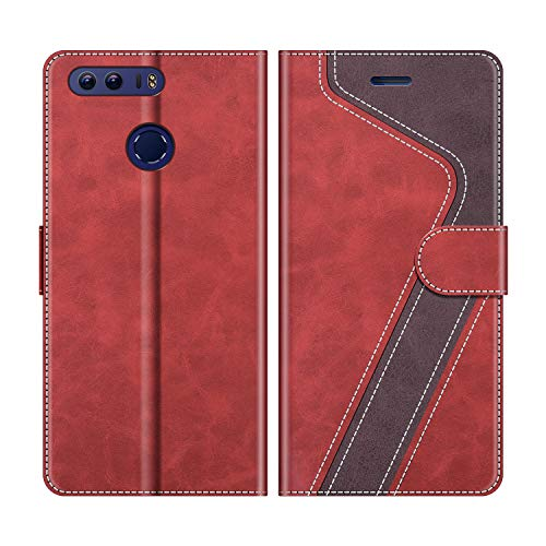 MOBESV Funda para Honor 8, Funda Libro Honor 8, Funda Móvil Honor 8 Magnético Carcasa para Honor 8 Funda con Tapa, Rojo
