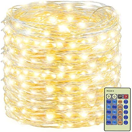 XUNXMAS 500LED Warm White Christmas String Lights 165ft Silver Wire Dimmable with Remote Control product image
