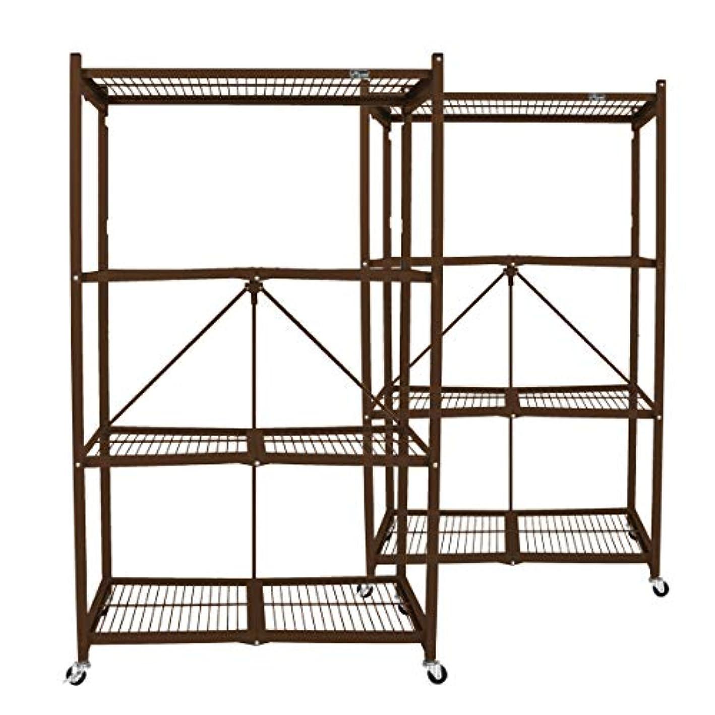 Origami R5VBW2 Wheeled 4 Shelf Folding Steel Wire Shelving Units, Bronze, Pair