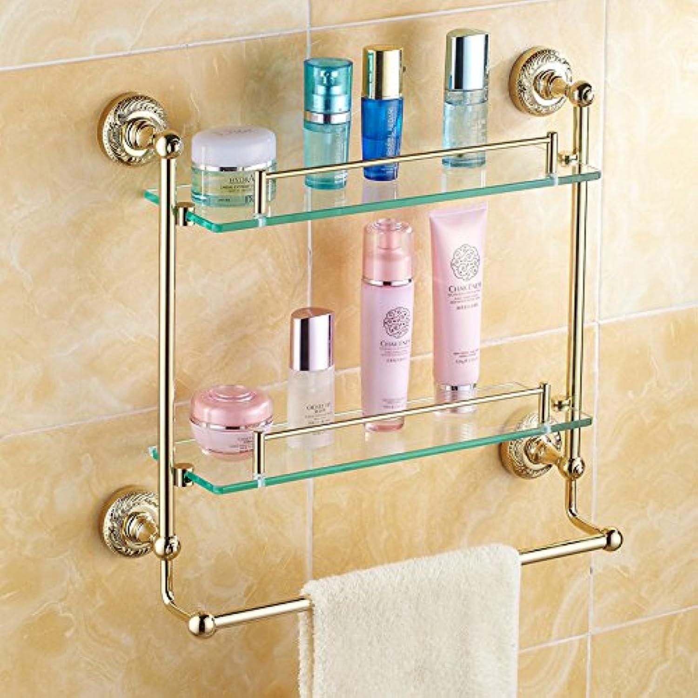 European copper antique gold bathroom double glass shelf-@wei