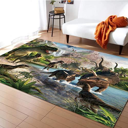 Sala De Estar Alfombra De Área De Dormitorio Alfombras Con Patrón De Dinosaurio De Dibujos Animados Alfombra DeJuego Para Habitación De Niños Alfombra Grande Impresa En 3D Para El Hogar 80cmx150cm