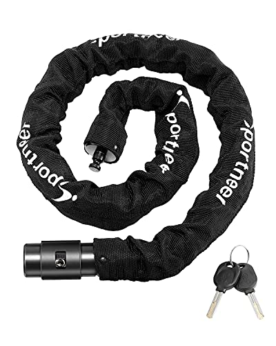 Sportneer Bike Lock Chain 3.2 FT 0.32'' 8mm Thicker Heavy Duty Anti-Theft Anti-Cut Uncuttable High Security Bicycle Chain Lock Bike Lock Portable Strong with Keys for Scooter, Mountain Bike, Motorbike