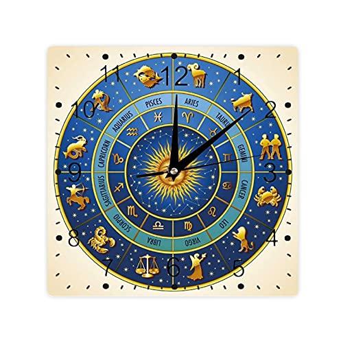 Rueda de signos astrológicos Nombres Fechas Luna Sol en Color Medio Cuadrado Morden Reloj Slient