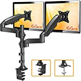 "ErGear 17""-32"" Dual Monitor Desk Mount Stand Kit, Full Motion Gas Spring Arms with Clamp On/Grommet Mounting Base, Holds Two Computer Screens up to 19.84 lbs/Arm with 75/100mm VESA, Black"