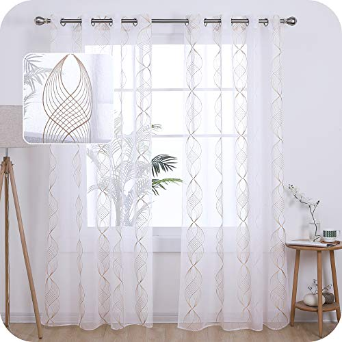 Amazon Brand - Umi Cortinas Translucidas Decorativas con Motivos Cinta Espiral con Ojales 2 Piezas 140x245cm Lino