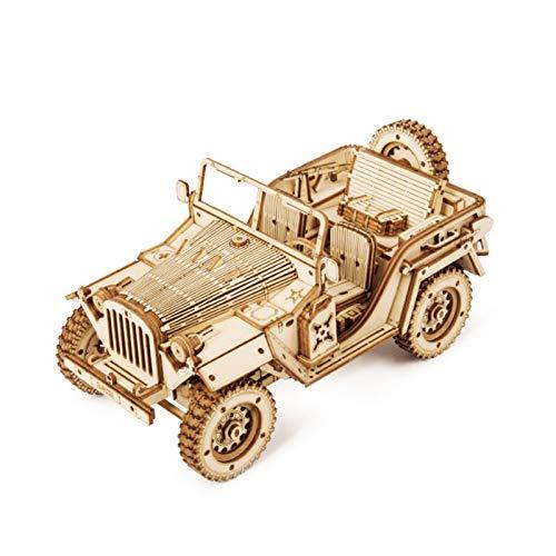 gerFogoo 3D-Puzzle aus Holz, hohe Schwierigkeit, Dekompression, Montage-Spielzeug, mechanisches Puzzle, Bastelset für Erwachsene (Jeep)