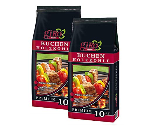 giRo Buchen Holzkohle Premium 2 x 10 kg Kohle Grillenkohle Buchenkohle Sack