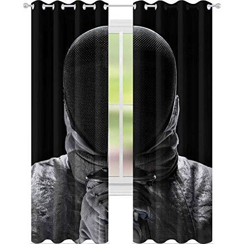 YUAZHOQI Cortina de ventana con retrato de joven masculino esgrimista con mscara y disfraz de esgrima blanca y sosteniendo la espada en la parte delantera, 132 x 274 cm, cortina de reduccin de ruido