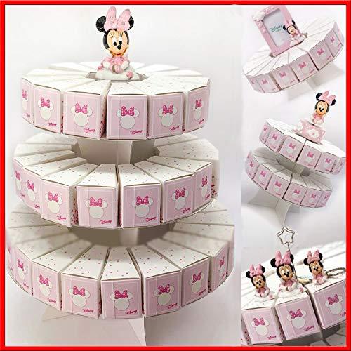 Torta di bomboniere con alzatina e fette portaconfetti in cartoncino rosa con Minnie, firmate Disney, confettate fai da te nascita compleanno femmina (3 Piani - 53 Fette - senza confetti)