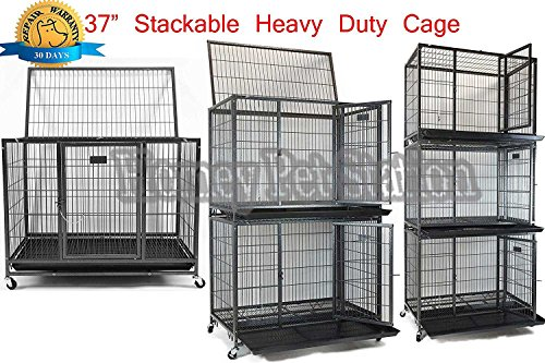 """Homey Pet 37"""" Heavy Duty Metal Open Top Cage w/Floor Grid, Casters and Tray Dog Food Kennels Supplies Top"""