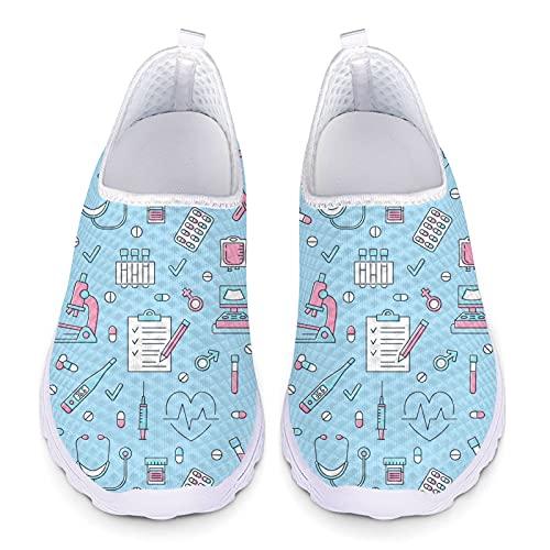 Showudesigns Deportivos Zapatos Sanitarios Mujer Zapatillas de Running para Mujeres Ligero Sneakers Transpirable Zapatos Deportivas Patrón de Accesorios de Enfermería Azul 38