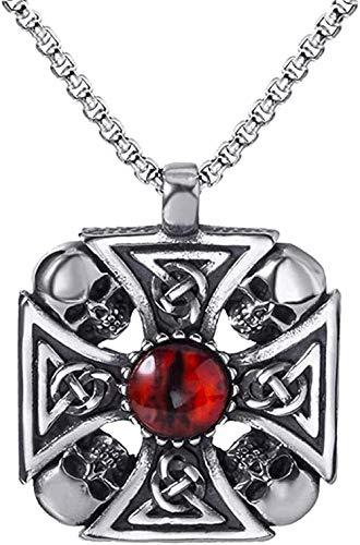 YUNQIYZH Co.,ltd Necklace for Men Women Men Stainless Steel Pendant Chain IC Solar Cross Skull Devil Eye Necklace for Men Women Jewelry 60cm Fashion Pendant Necklace Girls Boys Gift