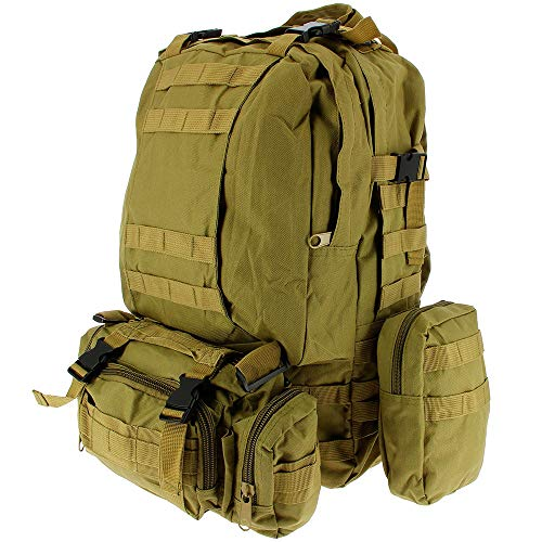 50L Molle Tactical 3 Day 72 Hour Assault Military Army Rucksack Backpack Camping Bag (Khaki)