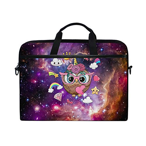 Laptop Case for 13 13.3 14 15 inch, Galaxy Nebula Unicorn Rainbow Owl Laptop Shoulder Bag Computer Sleeve Protective Bag with Detachable Strap