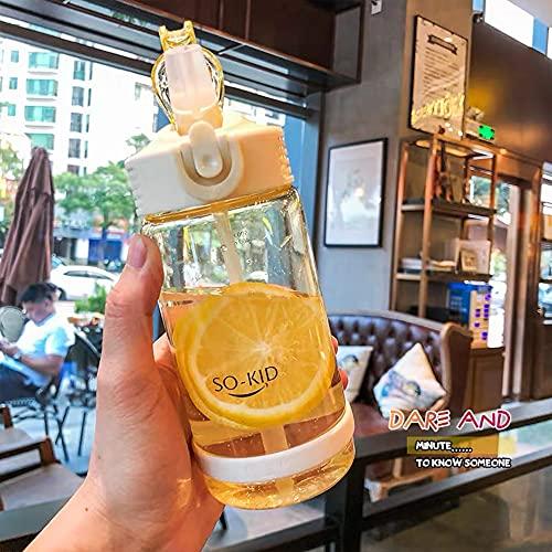 N\C Botella de agua de plástico para estudiantes de 500 ml con tapa de pajita para niños y niñas botellas de agua para la escuela al aire libre botellas de beber