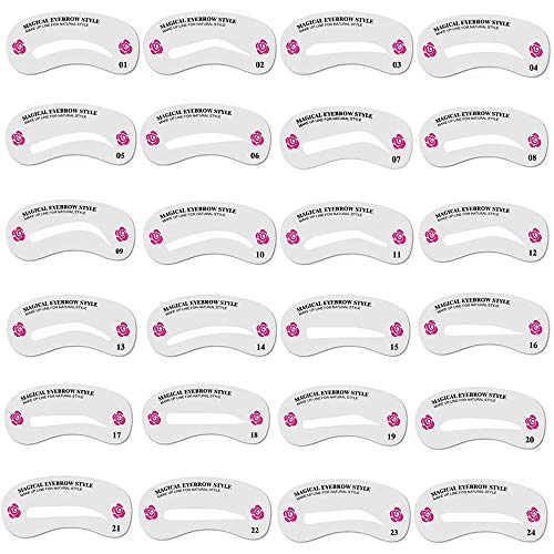 Teenitor Eyebrow Stencils Eyebrows Grooming Stencil Kit Shaping Templates DIY Tools, 24 Pack