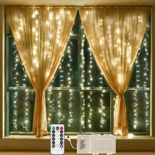 Battery Operated Warm White 300 LEDs Remote Window Curtain Lights,9 Mode String Lights Ideal for Outdoor Wedding,Christmas,Party,Bedroom,Bar,RV,Mall Decor-[Need 3 X Type D Batteries(Not Included)]