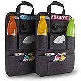 lunalemon ® Autositzorganizer - Organizer Tasche im 2er Set - moderner dunkelgrauer Filzstoff -...