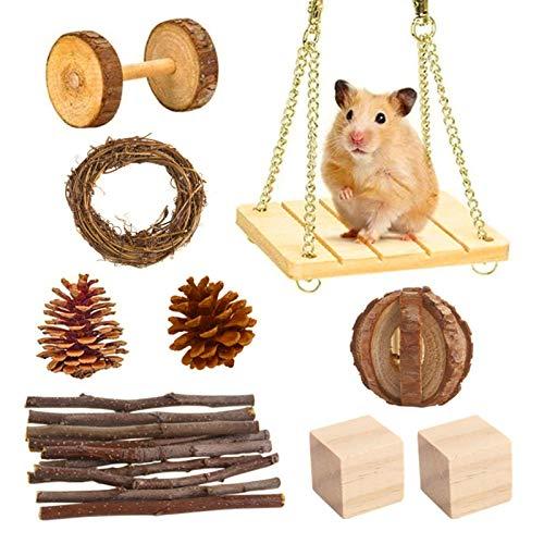ershixiong Juguetes de cerdo de indias de hámster, juego de juguetes de hámster de conejillo de indias ejercicio y cuidado de dientes juguetes para pájaros pequeños animales de juguete
