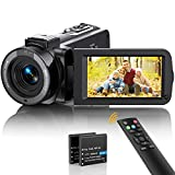 Video Camera Camcorder FHD 1080P 36MP 30FPS YouTube Vlogging Camera Recorder IR Night Vision 16X Digital Zoom 3.0'' 270 Degree Rotation IPS Screen Digital Camcorder with Remote and 2 Batteries