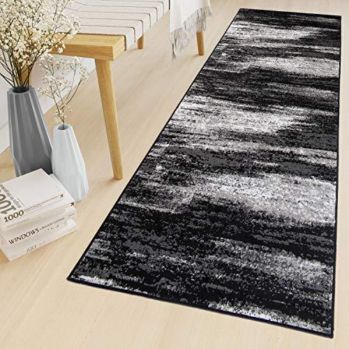 Tapiso Maya Teppich Läufer Meterware Kurzflor Wohnzimmer Flur Küche Modern Brücke Grau Weiß Schwarz Verwischt Meliert Design ÖKOTEX 80 x 200 cm