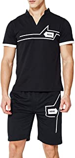 TRACKSUIT Men's Casual V Neck Short Sleeve T-Shirts and Shorts Summer Activewear Athletic Sports Suit Set(Black,US XL)