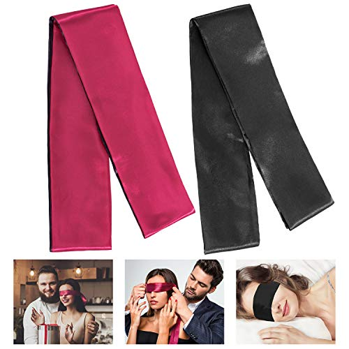 Whaline 2 Pack Satin Eye Mask Silk Sleeping Mask Blindfold Tie, 150 cm (Black Red and Black)