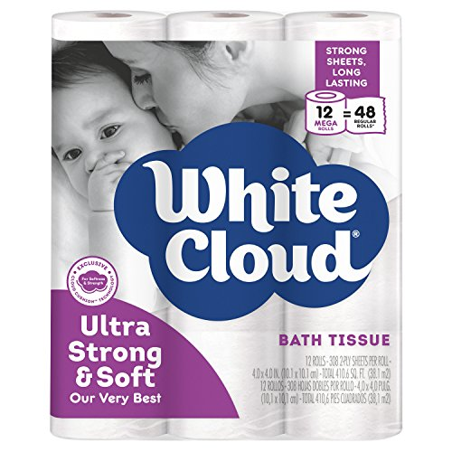 PACK OF 4 - White Cloud Ultra Strong & Soft Toilet Paper, 12 Mega Rolls
