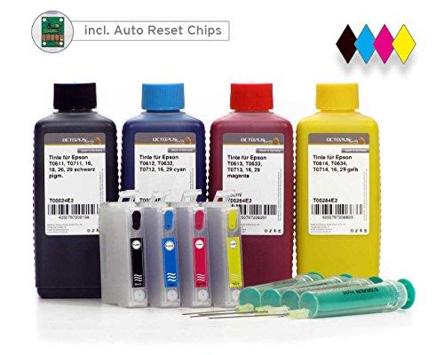Befüllbare Druckerpatronen kompatibel für Epson 29 mit 4x 100ml Nachfülltinte für Epson Expression Home XP-235, XP-432, XP-435, XP-332, XP-335, XP-245, XP-342, XP-345, XP-442, XP-445, XP-247