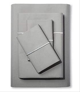 Fieldcrest Supima Satin Stitch Hotel Percale Sheet Set, Full, Gray