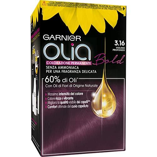 Garnier Olia Colorazione Permanente Senza Ammoniaca, Migliora la Qualità dei Capelli, Copre i Capelli Bianchi, 3.16 Violino Profondo