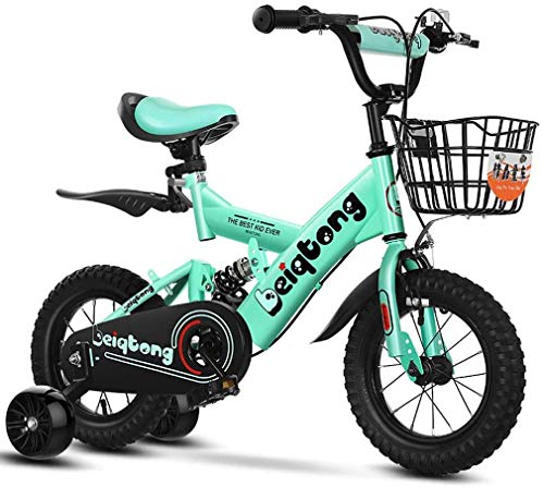 HCMNME Durable Bicycle Kids Bikes with Training Wheels, Boys Girls Freestyle Bicycle for 2-12 Years Old with Back Seat and Basket, Children's Mountain Bike with with Rear Suspension,Green 2,12in