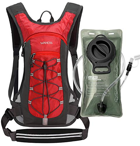 Hydration Backpack with 2L Leak-Proof Water Bladder, Water Backpack for Short Day Hikes, Day Trips and Cycling (Red)