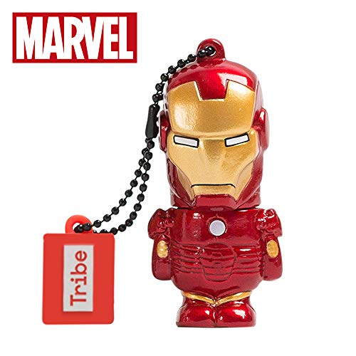 Llave USB 16 GB Iron Man - Memoria Flash Drive 2.0 Original Marvel Avengers, Tribe FD016504