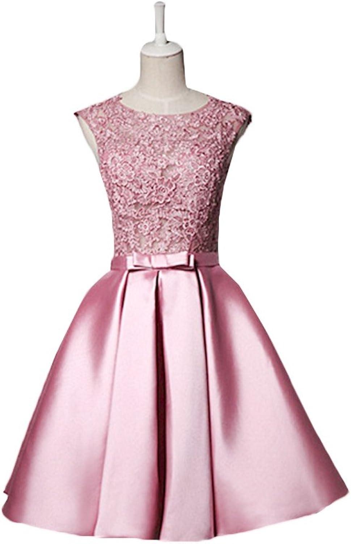 Scoop Neckline Lace Bodice Short Satin Prom Dresses