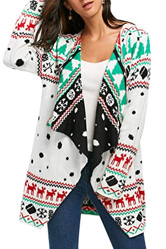 Pink Queen Women's Christmas Cardigan,Knit White Red Xmas Sweater Size L