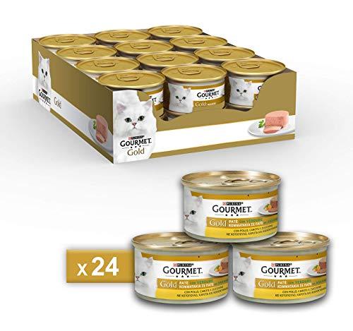 Purina Gourmet Gold Umido Gatto Patè con Verdure, con Pollo, Carote e Zucchine, 24 Lattine da 85 g Ciascuna, Confezione da 24 x 85 g