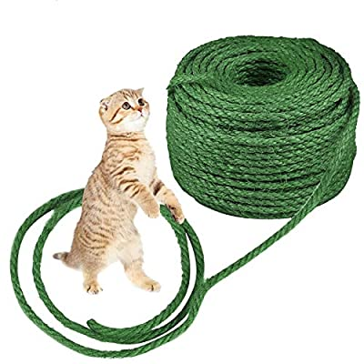 O'woda Cat Natural Sisal Rope for Scratching Post Tree Replacement, 1/4 inch Diameter, Natural Dyes, for Repairing, Recovering or DIY Scratcher, Hemp Rope for Cat Tree Tower (33Ft, Green)
